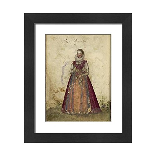 Framed Print Woman Dress a 9290679 21x17 Painting of of a Wearing RZORA7g