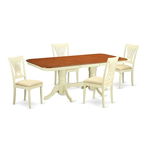 East West Furniture NAPL5-WHI-C 5 Piece Small Kitchen Table and 4 Dining Chairs Set