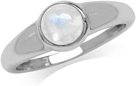 Natural Moonstone 925 Sterling Silver Simple Classic Ring