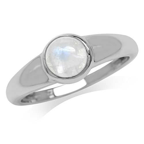 Natural Moonstone 925 Sterling Silver Simple Classic Ring Size 10 (Moonstone Ring Size 10)