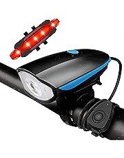 Luz para Bicicleta, Conjunto de Luz para Bicicleta Recarregável USB, Luzes LED Super Brilhantes para Bicicleta na Frente e Atrás, Smart Sensor 400 Lumen 5 Modos IPX5 à Prova d'água, se Encaixa em Todas as Bicicletas, Montanha, Estrada…