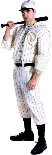 Old Baseball Player Costume (Rasta Imposta Old Tyme Baseball Player Uniform and Hat, White, One Size)