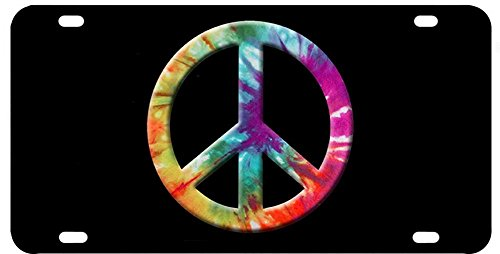 Brotherhood Tye Dye Colors Peace Sign Aluminum License Plate