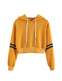 Hoodie for Women,Wokasun.JJ Yellow Solid Hooded Stripe in Middle Long Sleeve Sweater Tops for Teen Girls