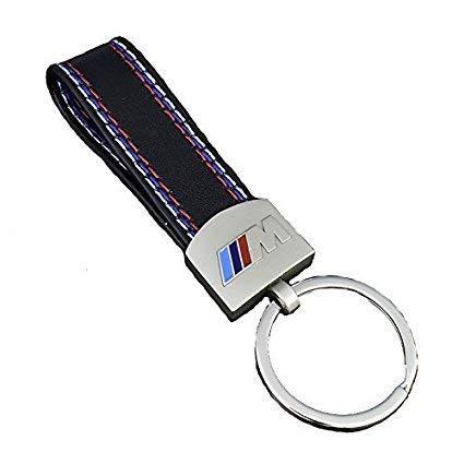 Llavero BMW M || Piel con Bordado Tricolor de Motorsport || Remachado con Zinc Anodizado || Emblema con Relieve a Color