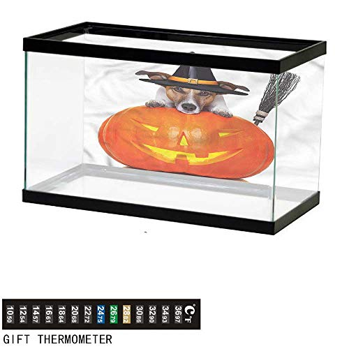 bybyhome Fish Tank Backdrop Halloween,Witch Dog with Broomstick,Aquarium Background,30