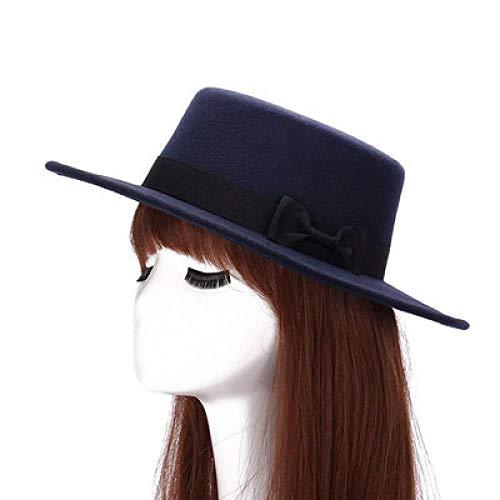 (Wool Boater Flat Top Hat for Women's Felt Wide Brim Fedora Hat Laday Prok Pie Chapeu De Feltro Bowler Gambler Top Hat 2)
