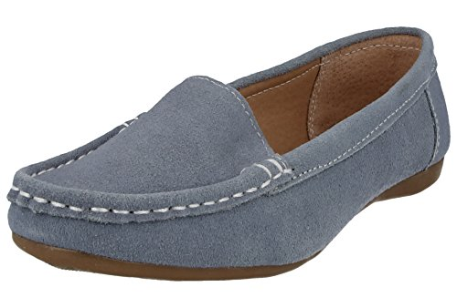 Jo & Joe Ladies Real Suede Leather Slip On Flat Casual Moccasin Loafer Pumps Shoes Size 3-8 Baby Blue 5kkj8H