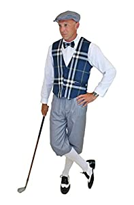 Edwardian Men's Pants Ultimate Knickers Outfit - Grey Knickers Blue Plaid Vest Grey Cap $149.99 AT vintagedancer.com