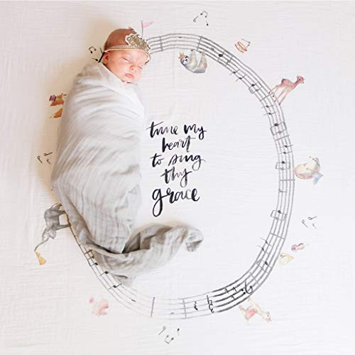 Dolly Baby Bedding - Organic Cotton Muslin Swaddle Blanket by Dolly LLama Kids - Music Parade - 47 x 47 Inch