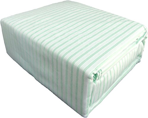Mint Green and White Pinstripes 4 pc Mini Stripe Cotton Sheet Set - (Newport Cotton Sheet Set)