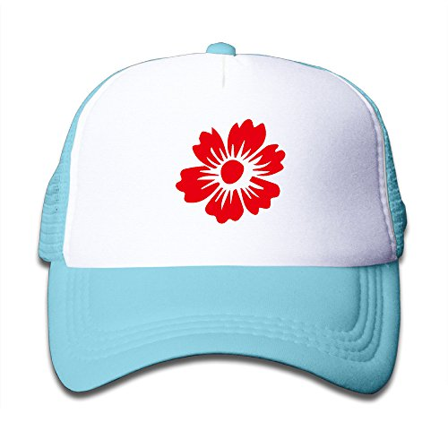 - Unisex Cartoon Red Fresh Flower Mesh Children Sport Hat SkyBlue
