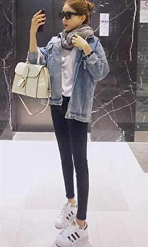 Jacket Caldo Giacche Manica Donna Festa Hippie Jeans Baggy Moda Giaccone Autunno Cappotto Lunga Blau Primaverile Streetwear Outerwear Ragazze Fidanzato Style TdxdPwZq4n