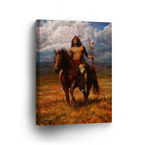 SmileArtDesign INDIAN WALL ART Native American Riding Horse with Spare Canvas Print Home Decor Decorative Artwork Gallery Wrapped Wood Stretched and Ready to Hang -%100 Handmade in the USA - 36x24