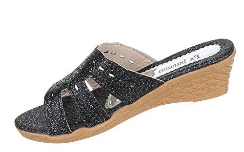 Kinder-Schuhe Sandalen | luftige Sommerschuhe mit Verzierung in verschiedenen Farben und Größen | Schuhcity24 | Glitzer Pantoletten mit 4,5 cm Keilabsatz Schwarz