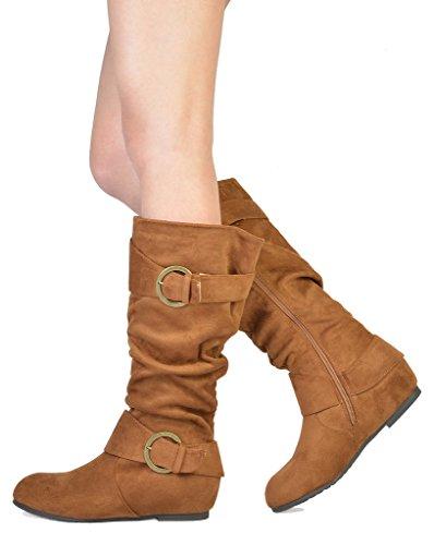 TRAUM-PAAR-Frauen Kniehohe niedrige versteckte Keilstiefel (breites Kalb verfügbar) Ura-tan Wildleder