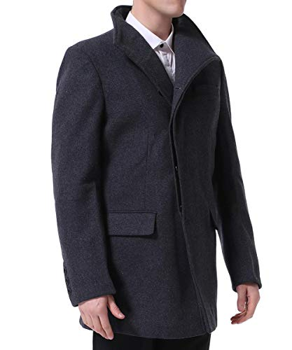 YOUTHUP Manteau Homme Hiver Laine Long Trench-Coat Chaud Slim Fit Casual Caban Mode Classique