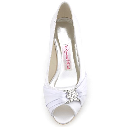 White Heel ElegantPark Women Toe Mid Rhinestones Bridal Shoes Wedges Pumps Peep Satin Wedding wOBwY7