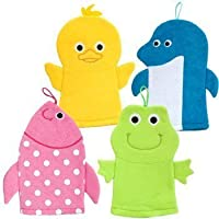 5Star-TD Terrycloth Animal Puppet Bath Mitts Washcloths - Duck, Dolphin, Fish, Frog