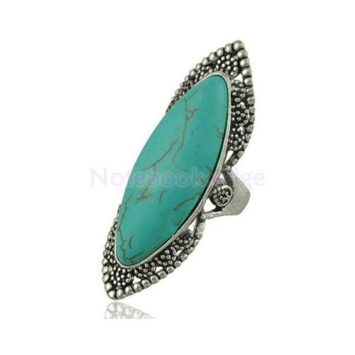 Women Vintage Studded Oval Turquoise Bohemia Ethnic Long Finger Ring Gift (Oval Long Ring)