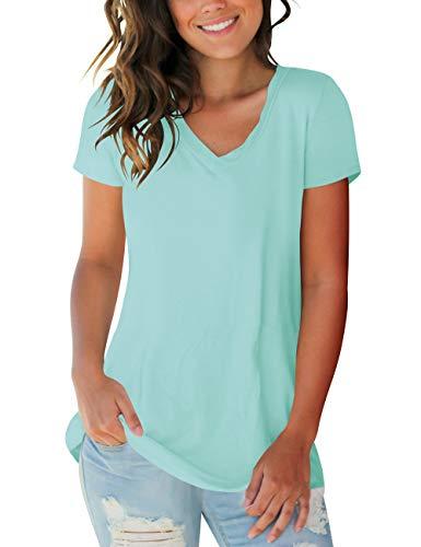 liher Womens Shirts Solid Color V Neck Short Sleeve Basic Tee Shirts (Best Plain Tee Shirts)