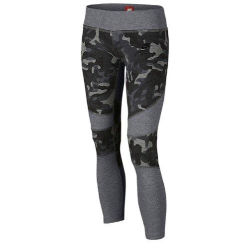 Nike Tech Fleece Printed Girls' Legging, Carbon Heather/Black (Small)