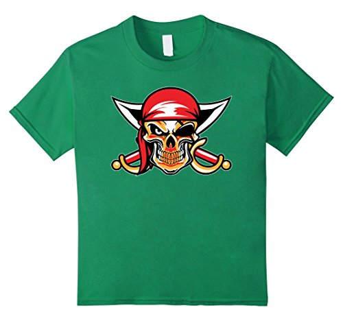 Kids Pirate Skull and Eye Patch Halloween Premium Tee 12 Kelly Green