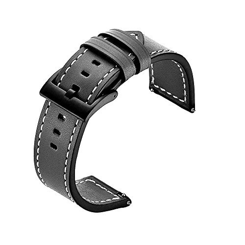 Kartice for Fossil Gen 4 Q Explorist HR Band,22mm Fossil Gen Q Explorist Gen 3 Bands Leather Band with Stainless Steel Buckle for Fossil Q Marshal Gen3/Fossil Gen 4 Q Explorist HR SmartWatch.(Black)