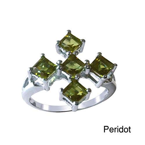 - Sterling Silver 1.85cttw Peridot Five Stone Ring