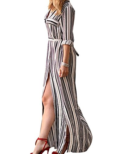 POGT Womens Sleeve Button Striped