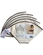 Ceelio 5 Piece Cotton Cone Coffee Filters Unbleached All-Natural, Reusable Filter Pour Over Dripper - Eco-Friendly
