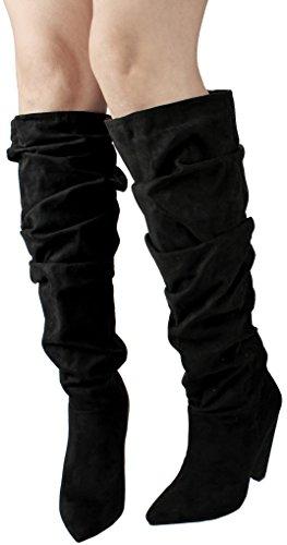Jjf Schoenen Vrouwen Kunstleer / Faux Suede Pull-on Puntige Teen Slouch Knie Hoge Dikke Kegel Hiel Laarzen Zwart Suede