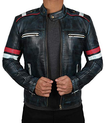 (Distressed Mens Biker Leather Jacket | Retro-2, M )