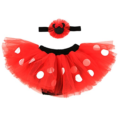 Disney Baby Girls' Minnie Mouse Dress Up Headband and Tutu Set, red, black 0-12M]()