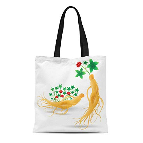 - Semtomn Canvas Tote Bag Shoulder Bags Korean Ginseng Root Leaf and Flower White China Herbal Women's Handle Shoulder Tote Shopper Handbag