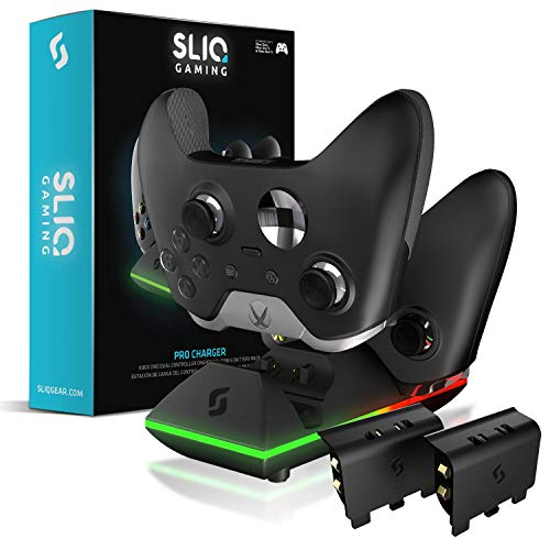 Sliq Xbox One/One X/One S Controller Charger Station and Battery Pack - Includes 2 Rechargeable Batteries - Also Compatible with Elite and PC Versions (Black) (Best Double A Batteries For Xbox Controller)