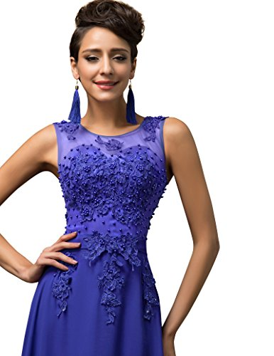 Yafex Damen Cocktail Kleid Gr. 32, Blue-Blue