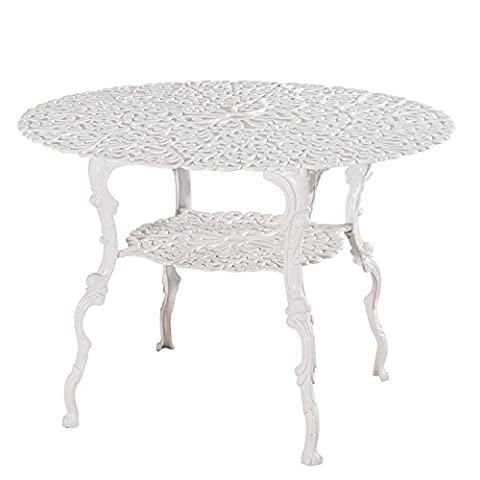 Antique Victorian Cast Aluminum Patio Dining Table - White Heart Product SKU: PF01022T (White Bistro Dining Table)