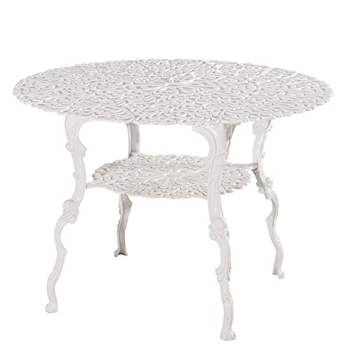 PierSurplus Antique Victorian Cast Aluminum Patio Dining Table - White Heart Product SKU: PF01022T
