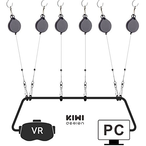 KIWI design VR Cable Managment | Ceiling Pulley System for HTC Vive/Vive Pro Virtual Reality/Oculus Rift/PS VR/Microsoft MR/Samsung Odyssey VR Accessories (Black)