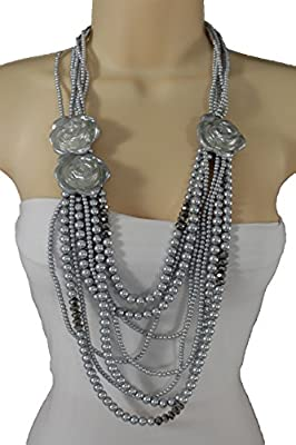 TFJ Women Multi Strands Fashion Jewelry Long Necklace Grey Silver Pearl Beads Flower Roses Charm Pendant
