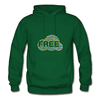 Different Off-the-record Designed Long-sleeve Freedom Cloud With Summer Of Love Symbols Women X-large Green Hoodies