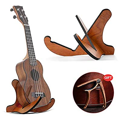 DTNO.I Guitar Stand, Universal Wooden Guitar Stand Acoustic Guitar Stand with Guitar Capo, Portable Detachable Instrument Holder Stand for Musical String Instrument and Acoustic Classical Bass Guitars