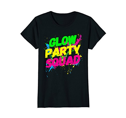 Womens Glow Party Squad Paint Splatter Effect Neon Glow Party Shirt XL Black -