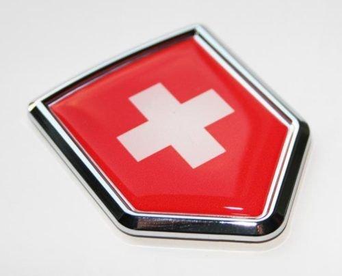 Swiss Emblem - Car Chrome Decals CBSHD208 Switzerland Swiss Decal Flag Car Chrome Emblem Sticker