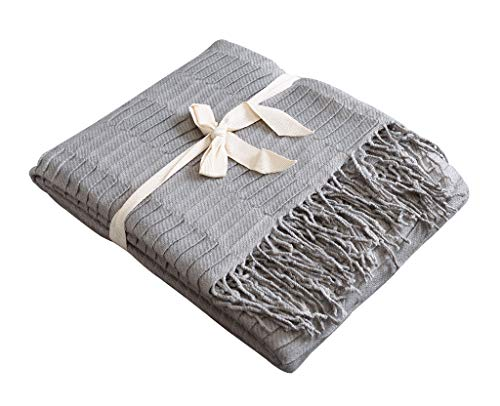 Fringed Fleece Throw - Couch and Sofa Strip Throw Blanket with Fringe -Soft, Lightweight, Cozy, Acrylic Decorative Knitted-50×60 Inches, Gray