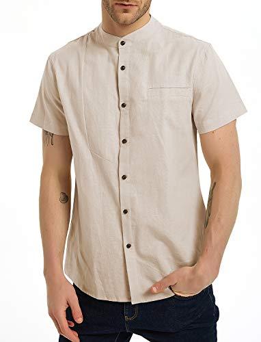 Aimeilgot Mens Short Sleeve Shirts Linen Cotton Button Down Banded Collar Plain Summer Shirts Beige-S