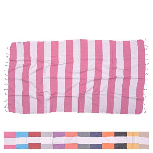 (The Riviera Towel Company Biarritz Hot Pink Striped Turkish Towel for Bath & Beach - Swimming Pool - Yoga Pilates - Picnic Blanket - Scarf Wrap - Peshtemal Hammam Fouta)