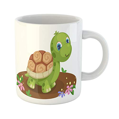 Semtomn Funny Coffee Mug Colorful Turtle Cute Tortoise Cartoon Green Face Land Nature 11 Oz Ceramic Coffee Mugs Tea Cup Best Gift Or -