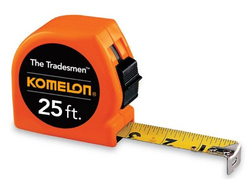 Komleon T3725 The Tradesmen Acrylic Coated Steel Blade Tape Measure 25-Inch by 1-Inch, Orange Case